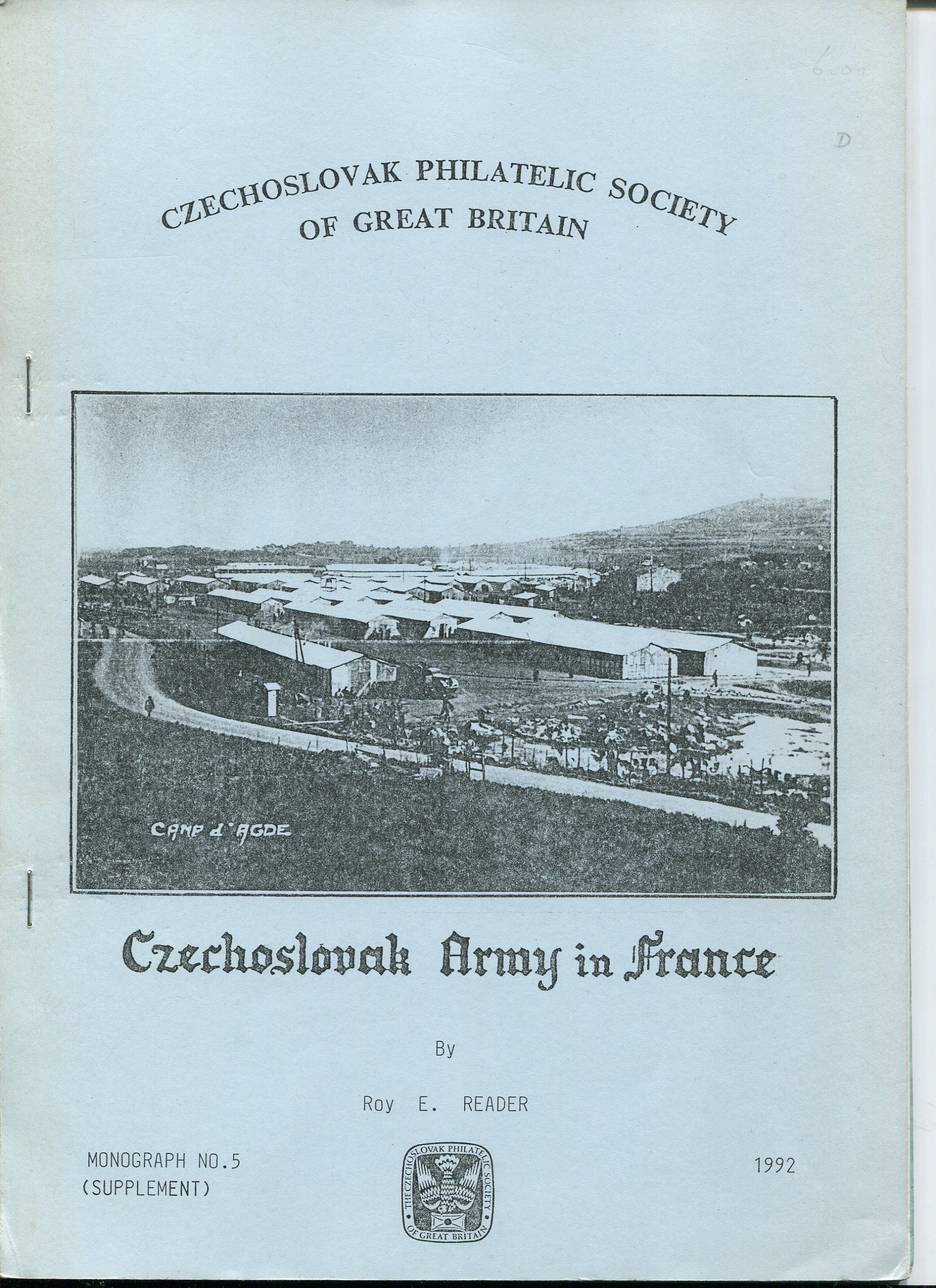 READER Roy E. Czechoslovak Army in France.