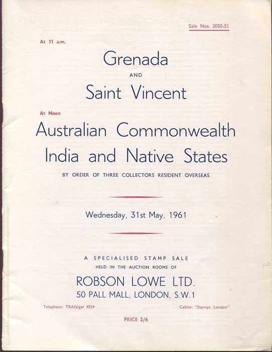 1961 (31 May) Grenada and St Vincent, Australian Commonwealth, India and Native States