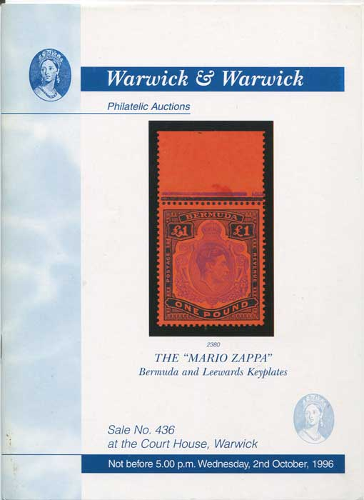 1996 (2 Oct) Mario Zappa Bermuda and Leewards Keyplates