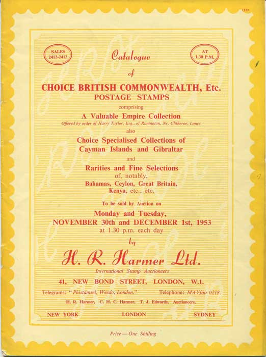 1953 (30 Nov - 1 Dec) Choice British Commonwealth including Cayman Islands.
