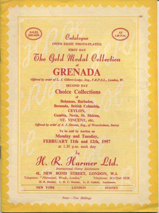 1957 (11-12 Feb) L.J. Gilbert Lodge collection of Grenada