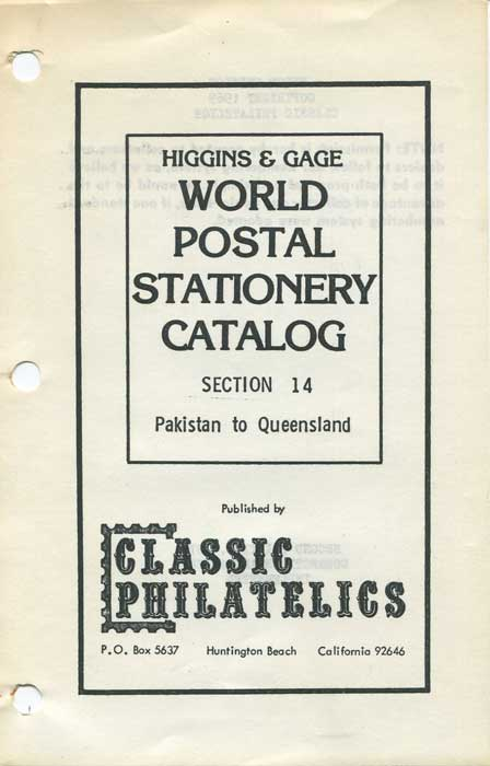 HIGGINS & GAGE World Postal Stationery Catalogue