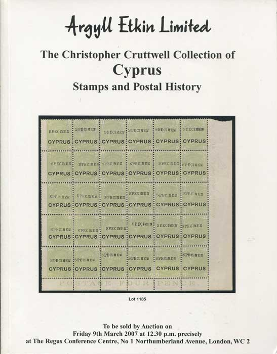 2005 (9 Mar) Christopher Cruttwell collection of Cyprus stamps and postal history