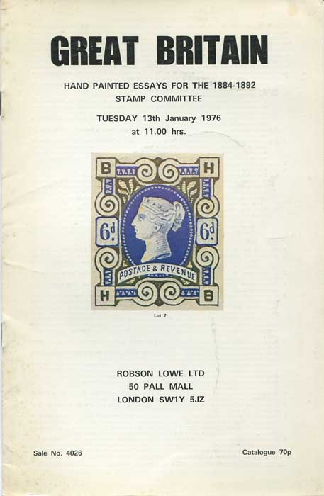 1976 (13 Jan) Great Britain. Hand painted essays for the 1884-1892 stamp committee
