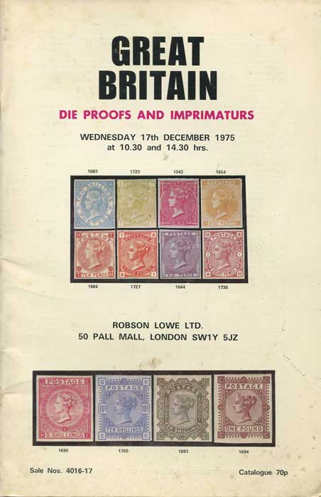 1975 (17 Dec) Great Britain. Die Proofs and Imprimaturs