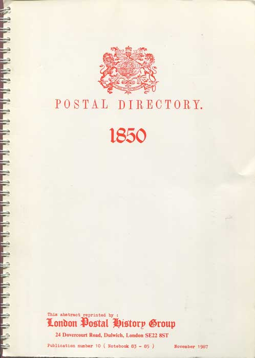 POST OFFICE Postal Directory 1850