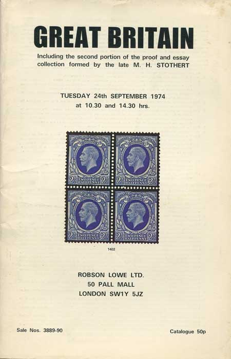 1974 (24 Sep) Great Britain including second portion of the proof and essay collection formed by the late M.H. Stothert