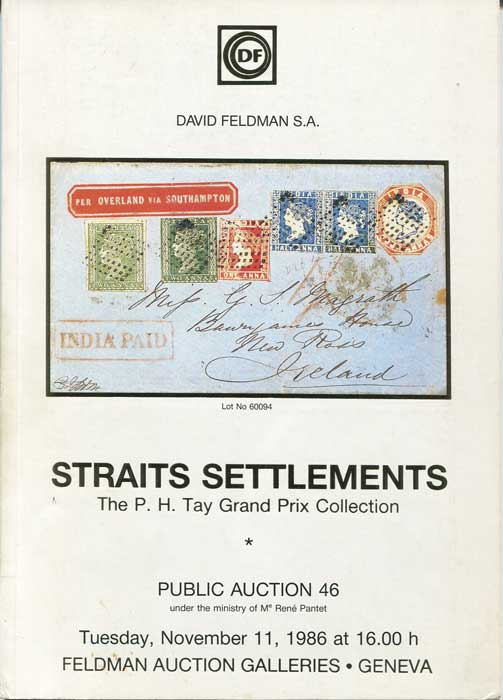 1986 (11 Nov) Straits Settlements. The P.H. Tay Grand Prix collection