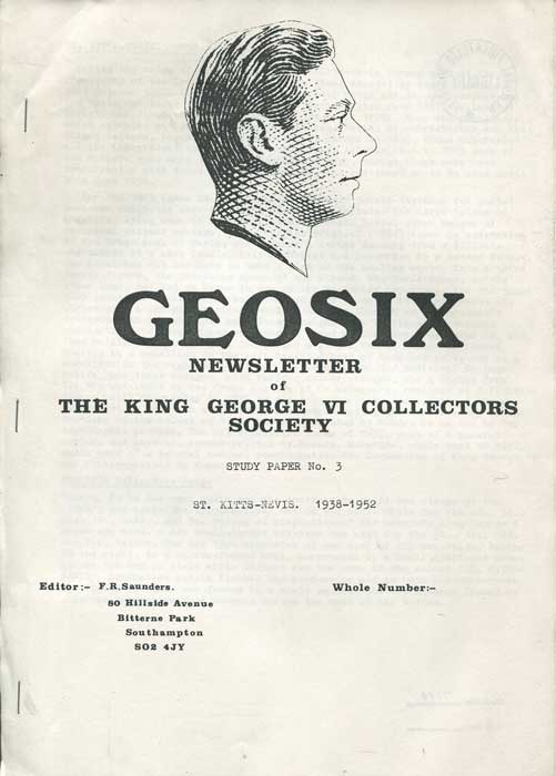 SAUNDERS Frank R. St Kitts Nevis 1938-1952 - Geosix Study paper  no. 3