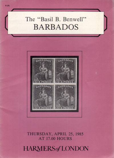 1985 (25 Apr) B.B. Benwell collection of Barbados.