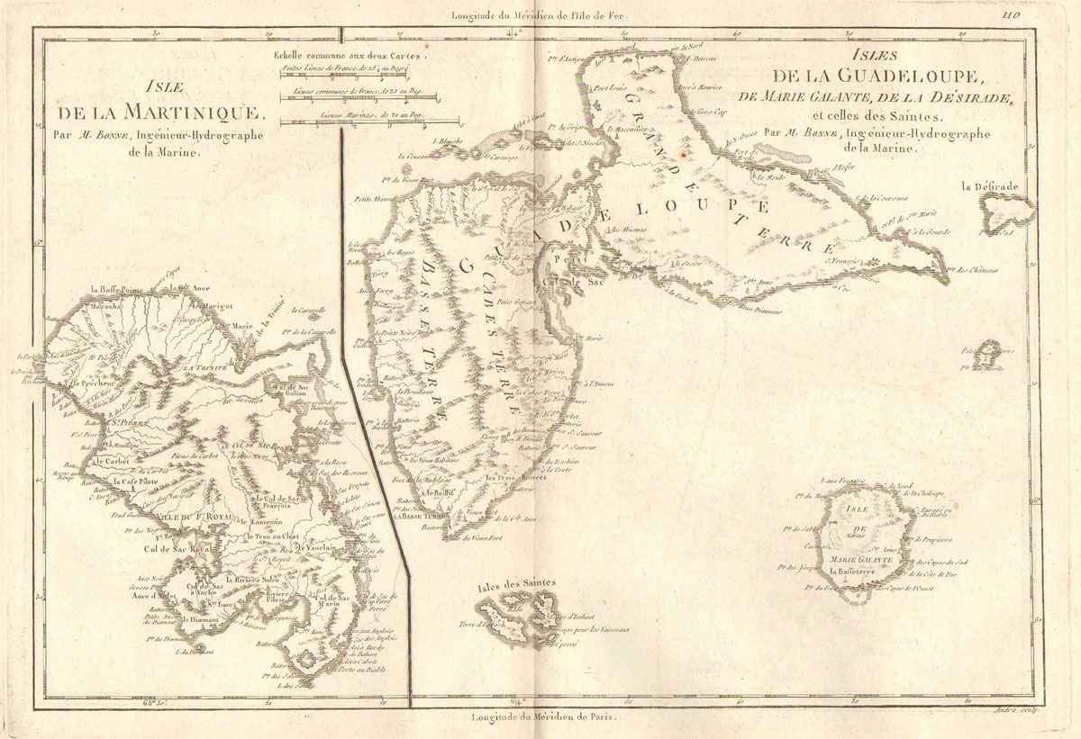 BONNE M Isles de la Guadeloupe, de Marie Galante, de la Desirade, et celles des Saintes. - Together with Isle de la Martinique.