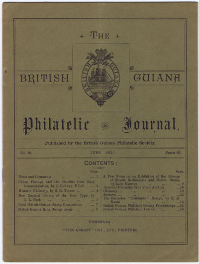 BRITISH GUIANA PHILATELIC SOCIETY The British Guiana Philatelic Journal. - No. 20