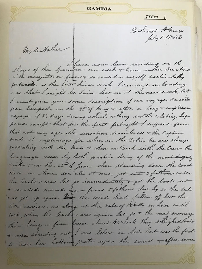 GAMBIA A correspondence from H. Robson in Bathurst to her father in England
