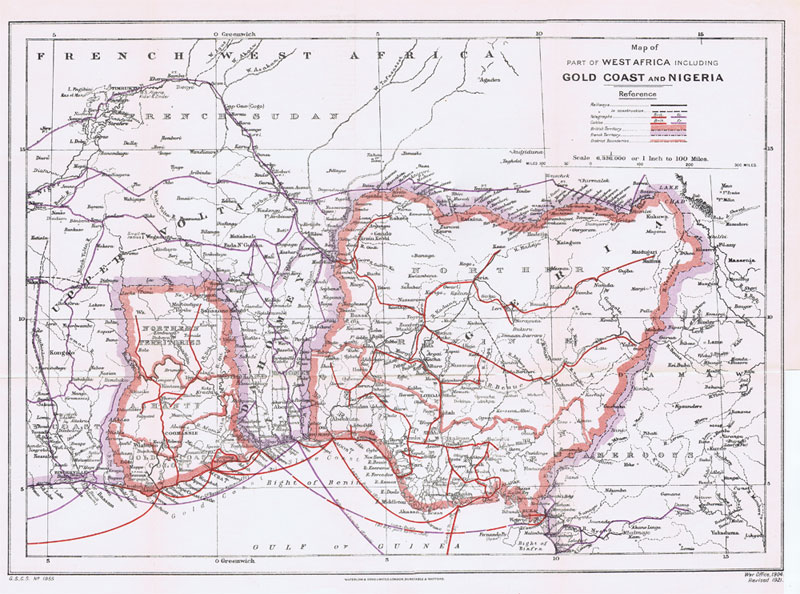 WATERLOW & SONS Map of part of West Africa including Gold Coast and Nigeria
