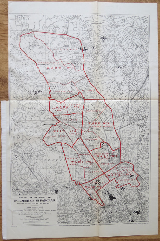 ORDNANCE SURVEY Map of the Metropolitan Borough of St Pancras showing wards and Polling Districts.