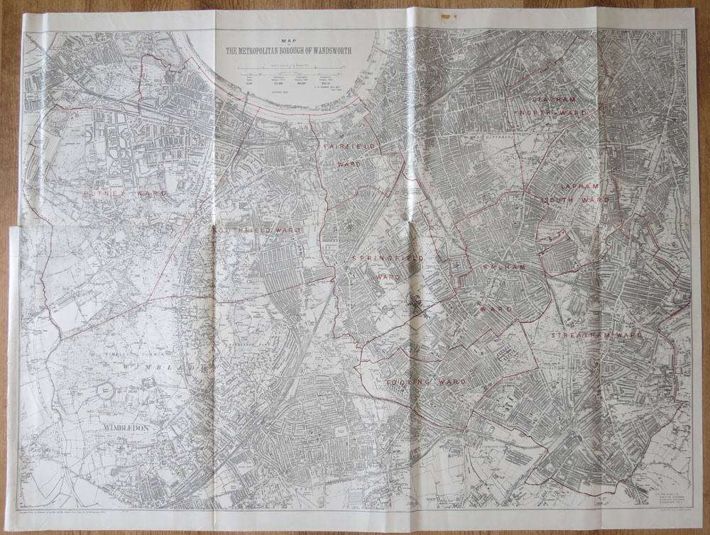 ORDNANCE SURVEY Map of the Metropolitan Borough of Wandsworth.
