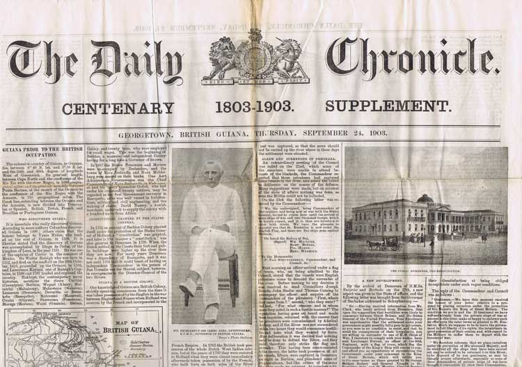 BRITISH GUIANA The Daily Chronicle Centenary 1803-1903 Supplement.