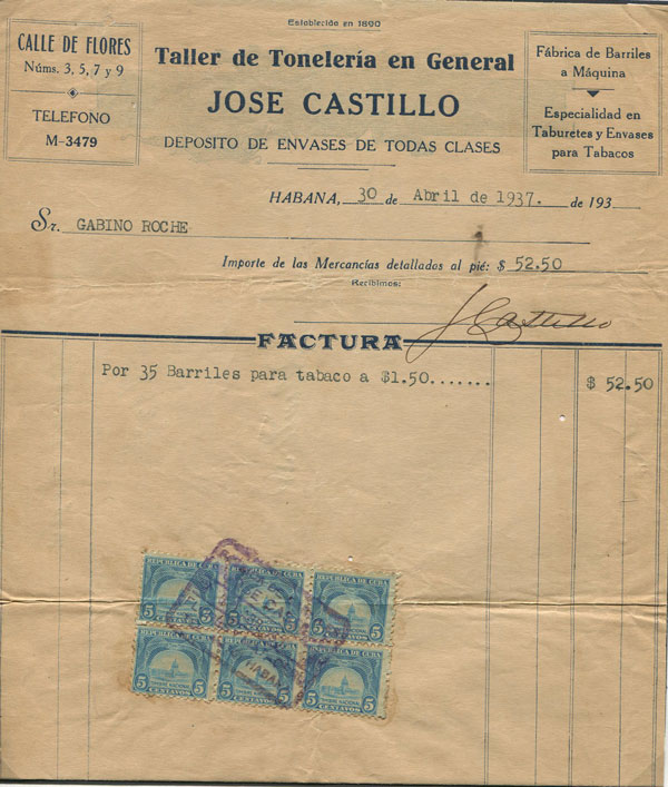 CUBA Printed Bill for Tobacco with revenue stamps tied by Havana cachet.