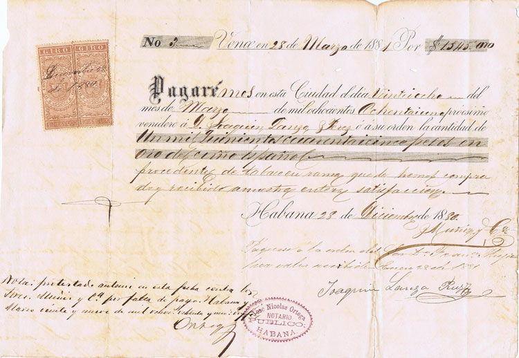 CUBA 1881 Pagare printed promissory note with two revenue stamps