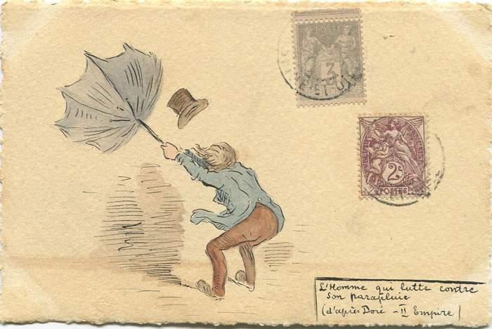 1904 France hand painted postcard showing man with umbrella.