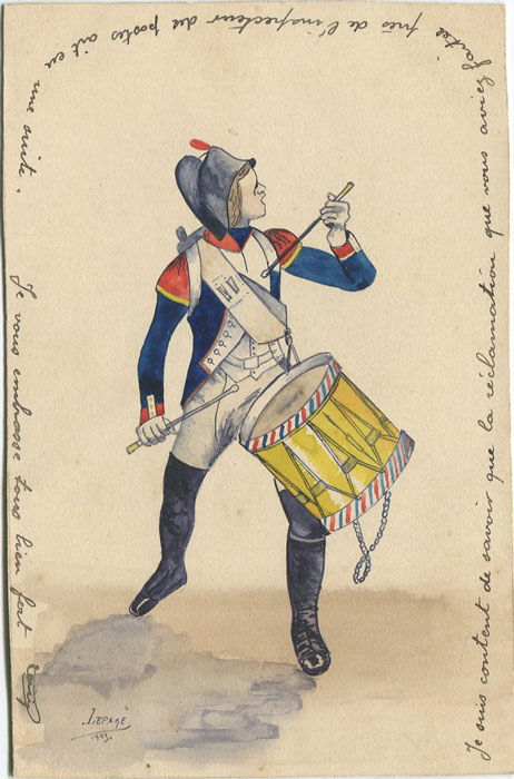 1903 France hand painted postcard showing soldier with drums by Louis Lepage.