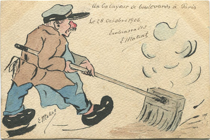 1906 France hand painted postcard showing Paris road sweeper by E. Matiat.