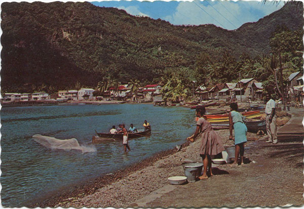 CLARKE & CO Waterfront view, town of Soufriere, St Lucia, W.I.