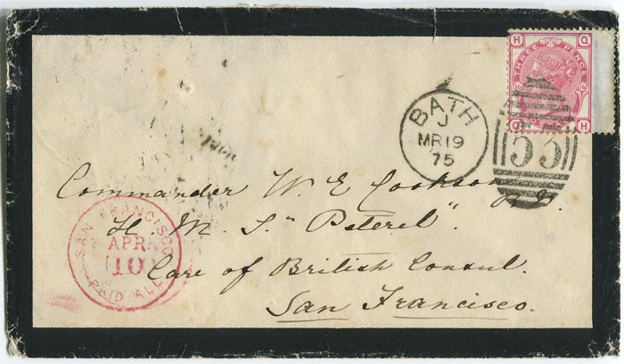 1875 mourning cover from England to San Fransisco, forwarded to Panama.