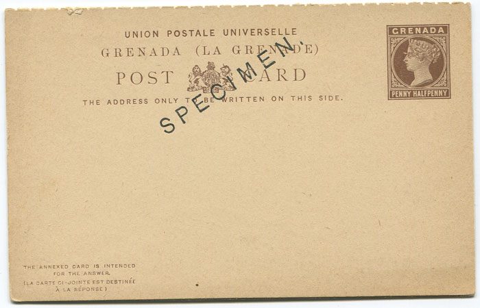 1886 Grenada postal stationery 1½d reply postal card (H/G10), overprinted