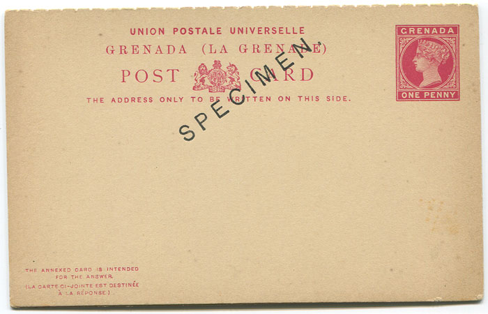 1886 Grenada postal stationery 1d reply postal card (H/G9), overprinted