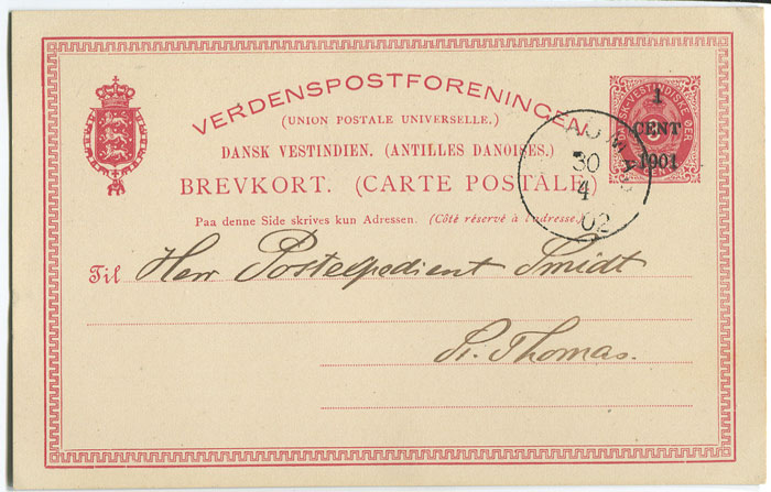 1902 Danish West Indies Postal Stationery 1c on 3c postal card