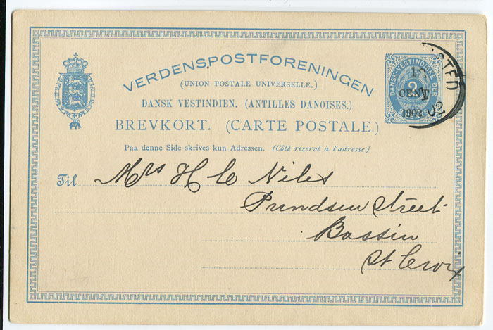 1902 Danish West Indies Postal Stationery 1c on 2c postal card