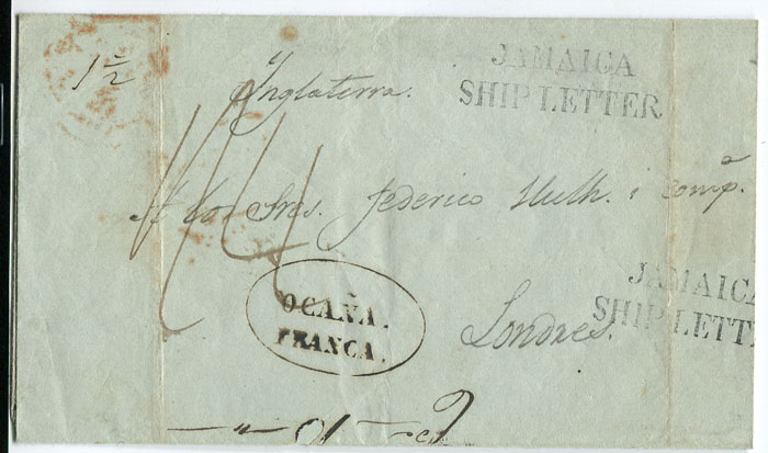 1845 cover from Colombia to London sent via Jamaica