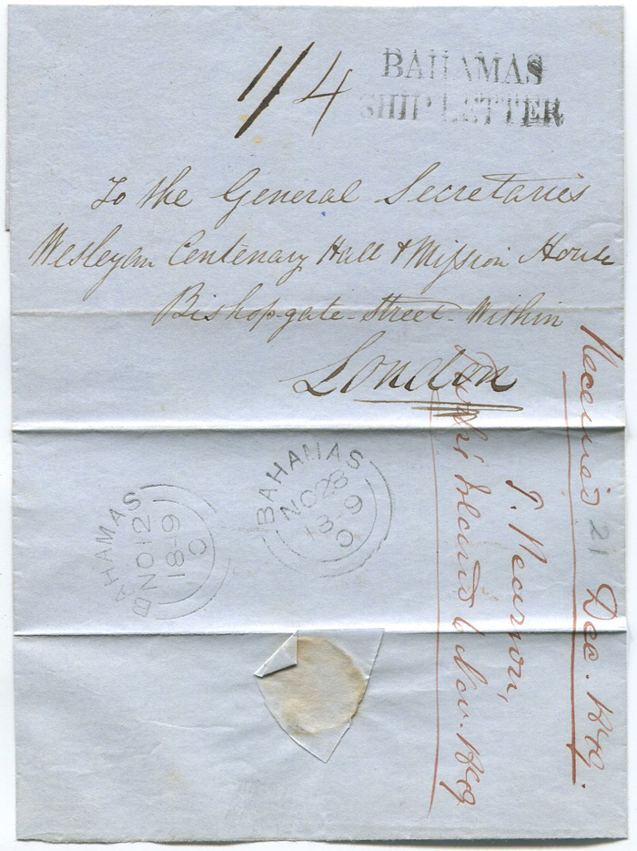1849 (12 Nov) BAHAMAS SHIP LETTER h/s on cover from Turks Islands to London