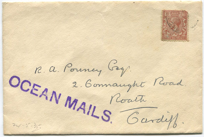 1935 OCEAN MAILS h/s on Turks Islands cover to Wales.