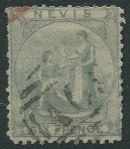 1861 greyish paper, perf 13, Nevis 6d grey lilac (SG7),