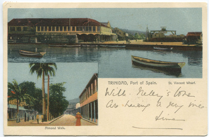 1903 PAQUEBOT h/s (Hoskings 175) applied at Port of Spain on postcard to Scotland.