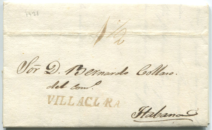 1828 old Cuba entire letter with fine straight line VILLACLARA