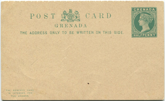 1886 Grenada postal stationery ½d + ½d postal reply card