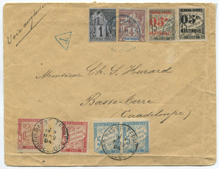 1894 (6 Nov) Martinique underpaid cover to Guadeloupe