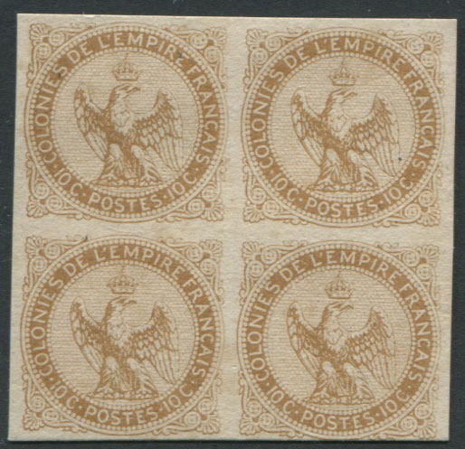 1859-65 French Colonies General Issues, Imperial Eagle10c bistre plate proof