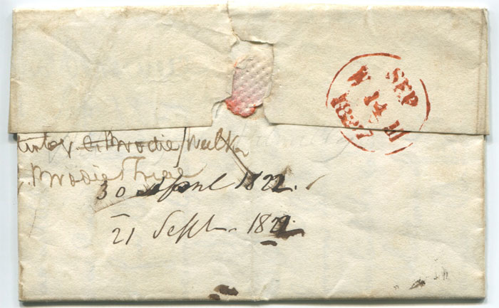 1827 (12 Sep) PAISLEY PENNY POST (RE198) and Edinburgh Add ½ (H/S16) on EL to Edinburgh.