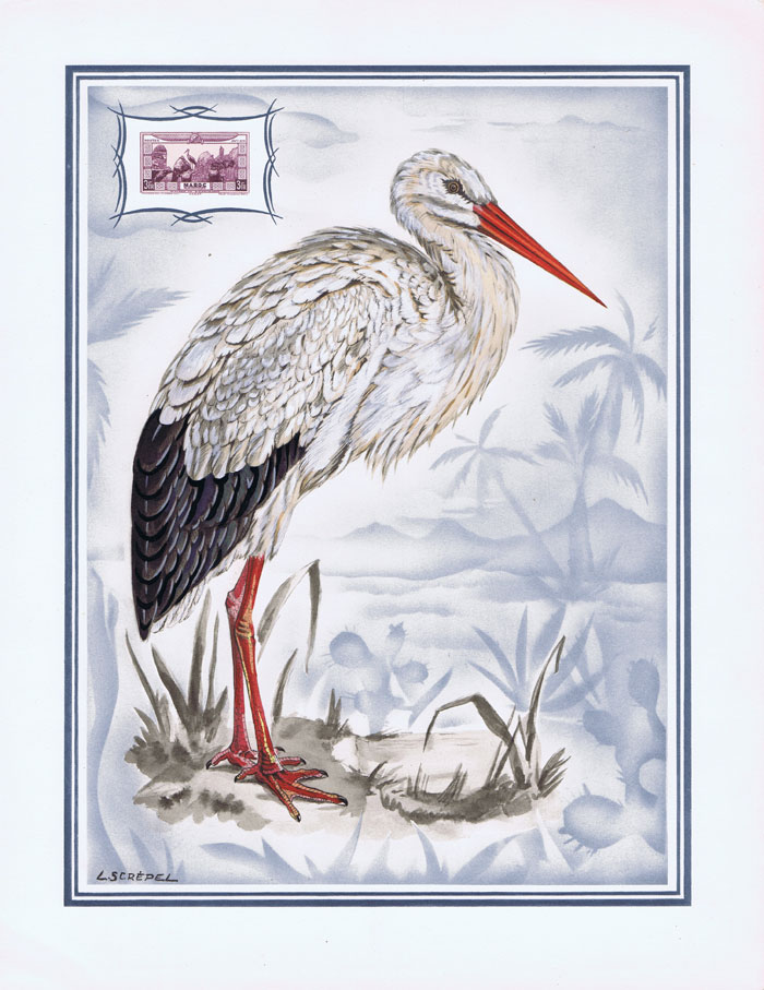 1949 French Morocco Helio-Vaugirard Proof of the 1928 3fr Stork Air Post semi-postal stamp inset into painting of the bird by L. Screpel.