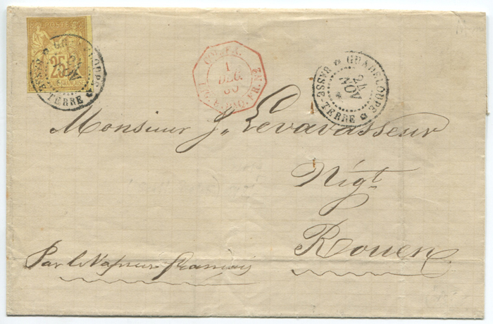 1880 (24 Nov) Guadeloupe cover to France with 25c yellow-bistre tied by BASSE TERRE cds.