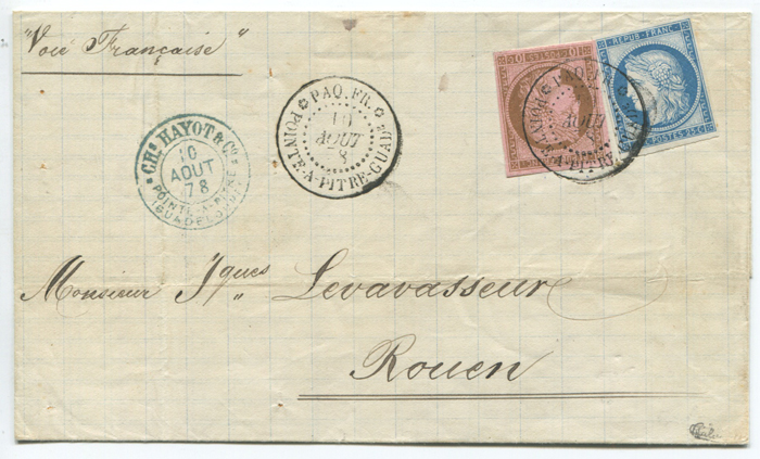 1878 Guadeloupe cover to France with 35c franking (U.P.U. Rate per 15g from May 15, 1878 to Feb 15, 1879)