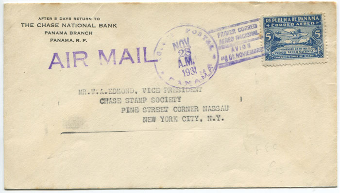 1931 PANAMA PRIMER CORREO AEREO NACIONAL AVION 9 DE NOVEMBRE barred cancel on first flight cover Panama - New York.
