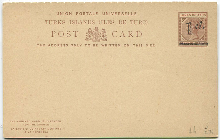 1892 Turks & Caicos Is. postal stationery 1d on 1½d reply card