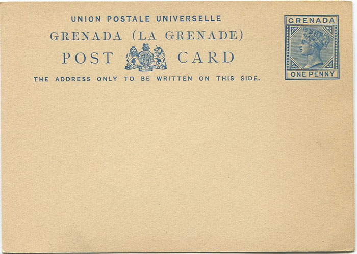 1881-2 Grenada 1d postal stationery card (H/G3)