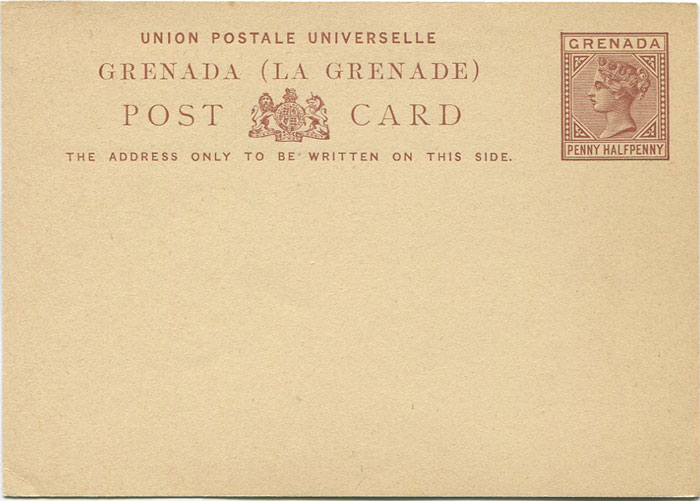 1881-2 Grenada 1½d postal stationery card (H/G4)