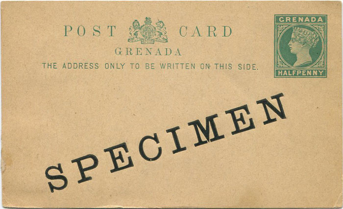 1886 Grenada ½d postal stationery card (H/G5)